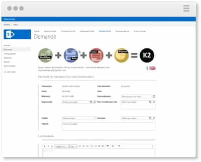 La plateforme BPM K2 s'intègre parfaitement à Sharepoint - données non structurées